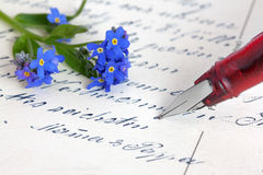 Forget-me-not flower and postcard royalty free stock photography
