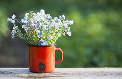 Forget me not flowers in a jar on wooden background Royalty Free Stock Photos