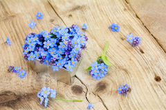 Forget-me-not flowers in a silver heart shape on rustic wood. Forget-me-not flowers in a baking heart shape on a rustic wooden background, love symbol for mother Stock Photo