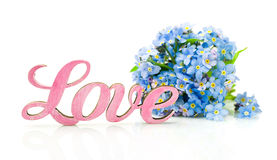 Forget-me-not flowers and word Royalty Free Stock Images