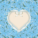Forget me not heart. Holiday card with a flowers and heart form (for your text). Retro style stock illustration