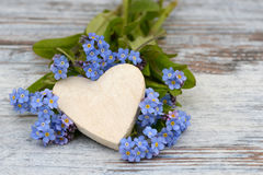Forget me not and heart Royalty Free Stock Photos