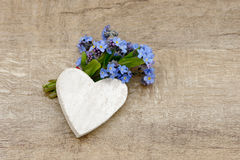 Forget me not and heart Stock Photos