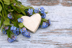 Forget me not and heart Stock Images