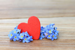 Forget me not and heart Royalty Free Stock Image