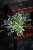 Forget-me-not`s bouquet in small glass jar on wooden stool, dark background stock image