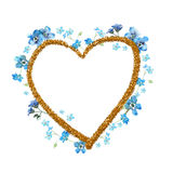 Forget-me-not watercolor flowers heart frame with golden contour on white backgr Royalty Free Stock Images