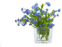Forget-me-nots. Beautiful bouquet of pink and blue colours in a glass vase Royalty Free Stock Image