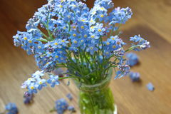 Forget me nots in the green vase Royalty Free Stock Images