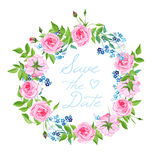 Forget-me-nots and roses wreath vector card Royalty Free Stock Photo