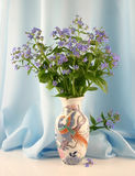 Forget-me-nots in a vase. Vase with forget-me-nots on a background of a blue drapery. A spring still-life Stock Photography