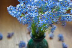 forget me nots in the vase on the wooden table Royalty Free Stock Photo