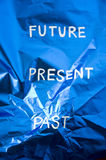 Forget the past. Concept on blue background Stock Photography