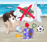 Forget the school. A young boy on the sand is smiling and thinking that school is finally over. Cartoon-style illustration Stock Photo