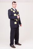 Forgetful businessman with sticky notes Royalty Free Stock Photography