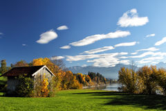 Forggensee, Allgäu. Autumn landscape with view on the Alps at the Forggensee in Allgäu, Bavaria, Germany Stock Photo