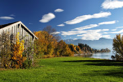 Forggensee, Allgäu. Autumn landscape with view on the Alps at the Forggensee in Allgäu, Bavaria, Germany Stock Images