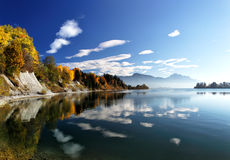 Forggensee, Allgäu. Autumn landscape with view on the Alps at the Forggensee in Allgäu, Bavaria, Germany Stock Photography