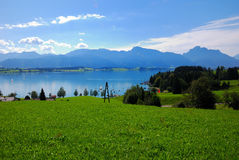 Forggensee and Alps royalty free stock photography