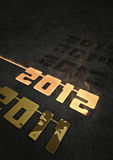 Forging 2012. 3D render of the year 2012 being made from molten gold Stock Image