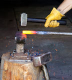 Forging with hammer Royalty Free Stock Photo