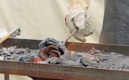 Forging production of iron rose Stock Photos
