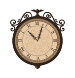 Forging retro clock with vignette arrows, isolated Royalty Free Stock Images