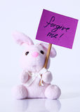 Forgive. A rabbit carrying a a purple message Royalty Free Stock Image