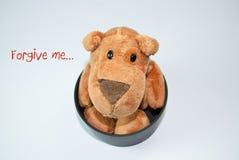 Forgive Me. Dog stuffed toy with Forgive me message Stock Photo