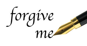 Forgive me. Message written with golden fountain pen Royalty Free Stock Image
