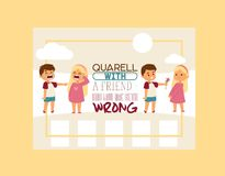 Forgive me vector kid character and children in quarrel forgiving sorry apology illustration of forgiveness apologize. Card background crying girl boy friends royalty free illustration