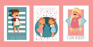 Forgive me vector kid character and children in quarrel forgiving sorry apology illustration set of forgiveness. Apologize card background crying girl boy royalty free illustration