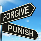Forgive Punish Signpost Means Forgiveness Stock Image