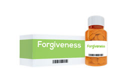 Forgiveness concept. Render illustration of Forgiveness title on pill bottle, isolated on white royalty free stock photo