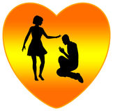 Forgiveness. Fills Hearts with Love as religious concept Stock Image