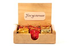Forgiveness gifts. Beautiful shot of forgiveness gifts on white background stock photography
