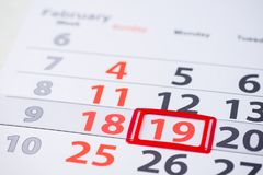 Forgiveness Sunday and Presidents Day in the United States. February 19 mark on the calendar stock images