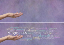 Forgiveness Word Cloud Banner. Female hand outstretched with palm up and the word Forgiveness hovering above surrounded by a relevant word cloud on a lilac Stock Photo