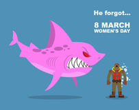 He forgot about 8 March. International womens day. Wicked  Pink Royalty Free Stock Photo