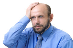 Forgot something. Senior man thinking about problems Stock Images