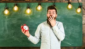 Forgot about time concept. Man with beard and mustache on shocked face in classroom. Bearded hipster holds clock. Chalkboard on background, copy space. Teacher Stock Photos