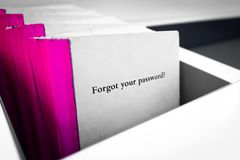 Forgot Your Password book. Forgot Password. White book with Forgot Your Password question on the cover. Technology concept Royalty Free Stock Images
