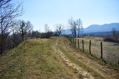 Forgoten country road with barbed wire fence in a beautiful sunny spring day stock photo