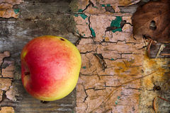 Forgotten apple. Apple on an old board Royalty Free Stock Images