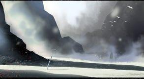 Forgotten battleground digital concept art illustration landscape. Winter sword mountains Stock Photos