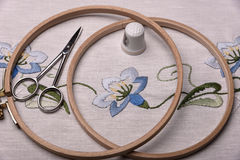 Forgotten craft embroidery. The cloth, thread, thimble, scissors  embroidery hoop Royalty Free Stock Images