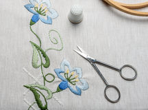 Forgotten craft embroidery. The cloth, thread, thimble, scissors Royalty Free Stock Images