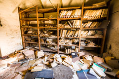 Forgotten documents. Old forgotten documents in an abandoned building Royalty Free Stock Photography