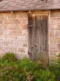 Forgotten Doorway. A worn wooden barn door stands behind overgrown ferns and plants Royalty Free Stock Image