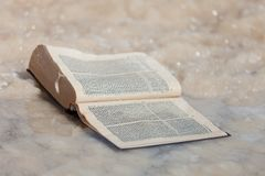 The forgotten old book covered with salt of the Dead sea. Israel. stock photo